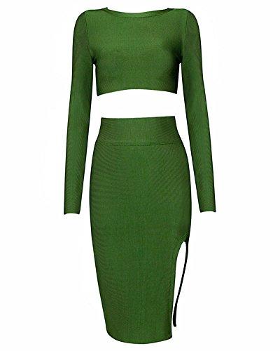 Vestito Whoinshop Donna Caldo Manica Bodycon Partito Verde Lunga 2 Piece 6qqES