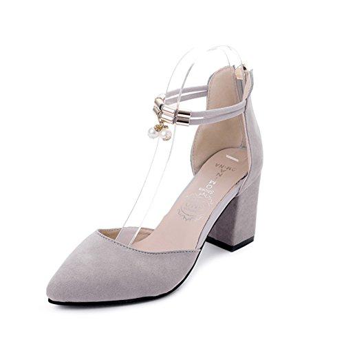 PUMPS Young Girl mit Frischen High Heels,Chunky Heels Dünne Schuhe,Weibliche Spitze Schuhe,Vielseitige Damenschuhe-A Fußlänge=22.3CM(8.8Inch)
