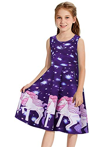 Girls Unicorn Dress Size 5T Horse Print Shirt Twirly Dresses Galaxy Dance Tunic Short Sleeve Silky Sun Dresses Summer Clothes 3D Graphic White Horse Skirt Purple Adorable Sundress