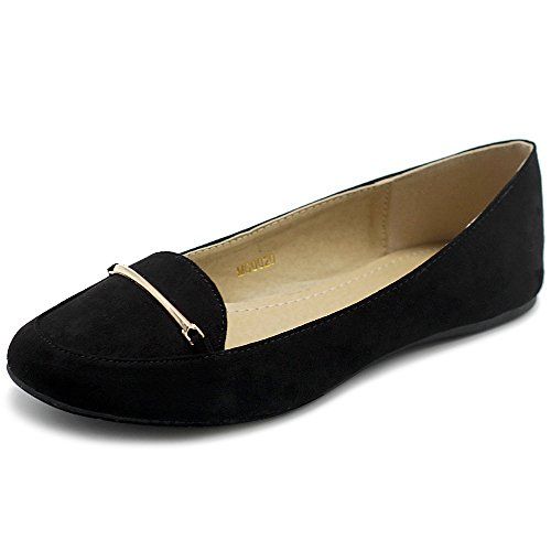 Comfort Light Band Suede Faux Women's Shoe Ballet Flats Black Ollio Gold tq7CwE