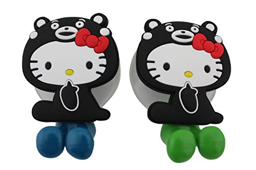 [Finex® *Set of 2* Hello Kitty in Kumamon costume Toothbrush Holders with Suction Cup for wall in bathroom at] (Car Costume Spider)