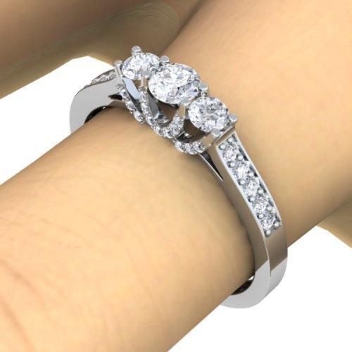Dazzlingrock Collection 1.00 Carat (ctw) 14K Round White Diamond 3 Stone Bridal Engagement Ring 1 CT, White Gold, Size 8 by Dazzlingrock Collection (Image #4)