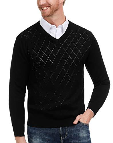 (PAUL JONES Men's V-Neck Argyle Pullover Sweater Long Sleeve Solid Plain Sweater (Black, M))