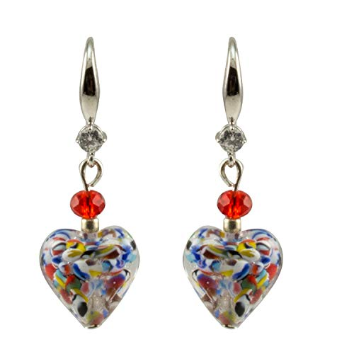 Just Give Me Jewels Genuine Venice Murano Klimt Glass Heart Dangle Earrings - Multicolor (Just Give Me Jewels)