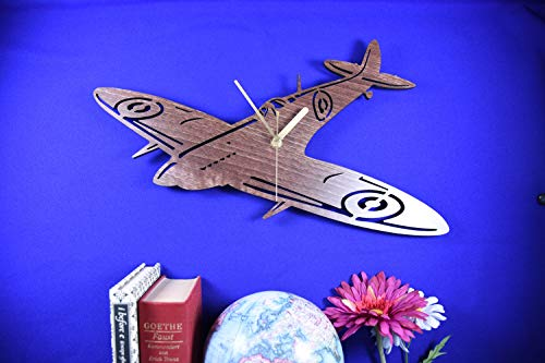 (Spitfire clock. Wooden Spitfire. Aeroplane clock. Aircraft clock. WW2 Wartime. Perfect for Spitfire fans. Spitfire obsessives. Spitfire fans)