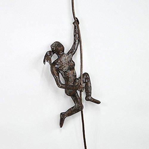 Female Climber (Bronze Metal Climbing Woman Wall Art Hanging Sculpture, Handmade Rock Climber)