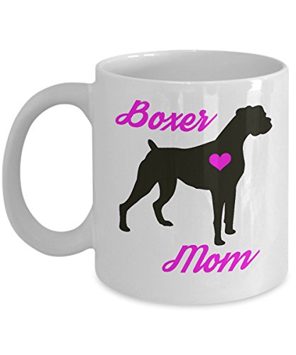 (Boxer Mug - Boxer Mom - Cute Novelty Coffee Cup For Dog Lovers - Perfect Mother's Day Gift For Women Pet Owners (11 oz, White))