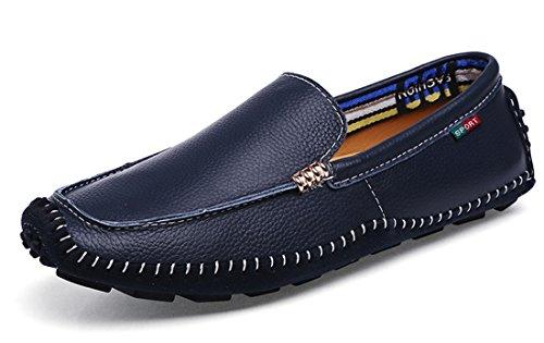 Tda Mens Brett Fit Komfort Manuell Läder Driv Loafers Båt Skor Blå