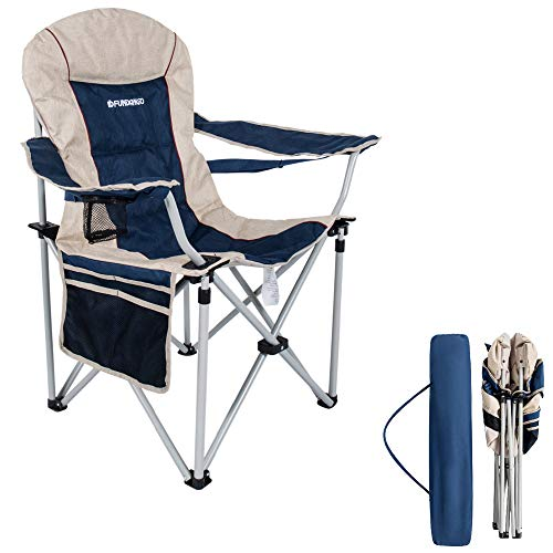 FUNDANGO Oversized Folding Camping Quad Chair Padded Arm Camp Chairs Lumbar Back Support Steel Frame Heavy Duty 300lbs with Cup Holder and Carry Bag for Heavy - Oversize Quad