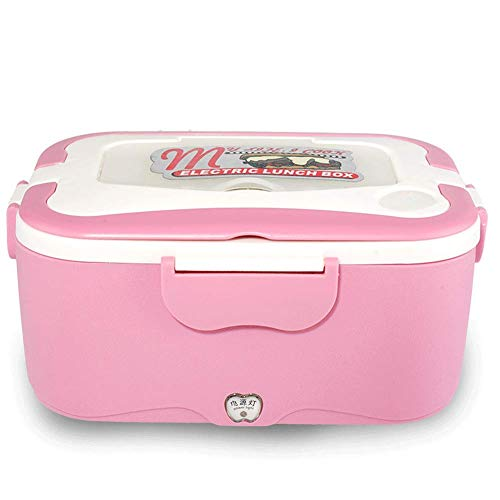 1.5L Portable 12V Car Truck Food Warmer Electric Heating Lunch Box Food Heater Warmer Container for Traveling Removable Stainless Steel Warming Container (Pink)