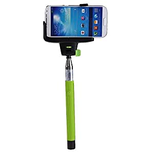 BoxCave Extendable Wireless Bluetooth Monopod Handheld Selfie Stick with Remote Camera Shooting Shutter Adjustable Phone Holder for iPhone, Samsung with BoxCave Microfiber Cleaning Cloth (Green)
