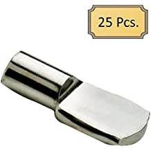 """5mm """"Spoon"""" Style Cabinet Shelf Support Pegs - Polished Nickel - Package of 25"""