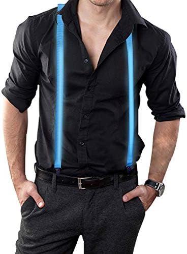 ナイトライフ ライトアップ LED サスペンダー メンズ ズボン ブレース Y型 音楽 フェスティバル ハロウィン コスチューム パーティー (ブルー)