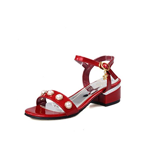 BalaMasa Womens Sandals Studded Huarache Smooth Leather Urethane Sandals ASL04404 Red n9f2i