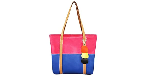 90c207ba47 Minch Cute Mixed Color Pu Leather Designer purses and handbags for Women  Work on clearance (rose red-mazarine)