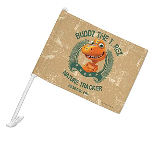 GRAPHICS & MORE Buddy The T-Rex Nature Tracker Mesozoic Era Dinosaur Train Car Truck Flag with Window Clip On Pole Holder - Left Driver Side