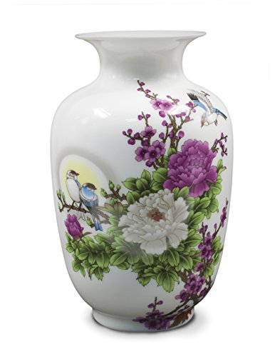 Dahlia Birds in Peony Bush Oriental Famille Rose Porcelain Flower Vase, 9-inch Melon Shaped