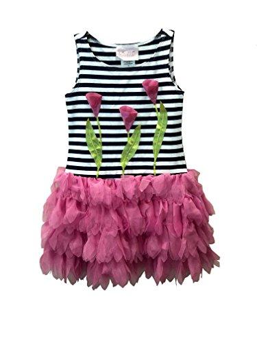 Biscotti Girls Sleeveless Navy Stripe Tulip Dress (Navy, 7)