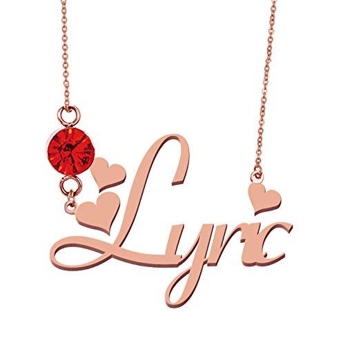 HUAN XUN Custom Everyday Birthstone Name Necklace -