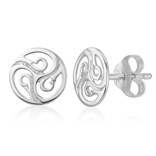 925 Sterling Silver Cut Open Tiny Celtic Knots Symbol Round Circle Post Stud Unisex Earrings 7 mm - Celtic Circle Earrings