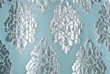 Brocade Faux Silk Fabric Blue Mettalic Blod Pattern