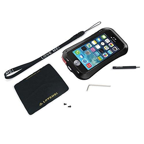 iPhone 5 5S Case Schutzhuelle - LOVE MEI Wasserdicht Stossfest Dirt Schnee Proof Durable Aluminum Case Schutzhuelle mit Gorilla-Glas fuer iPhone 5 5S - Schwarz