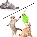 SunGrow Wand Cat Toy (1 pc) - Green Fabric Fish Toy with Soft Rabbit Fur - Interactive Fishing Rod Pet Toy with Long, Flexible Handle - Filled with Catnip to Satisfy Calico, Maine Coon and Tabby Cats