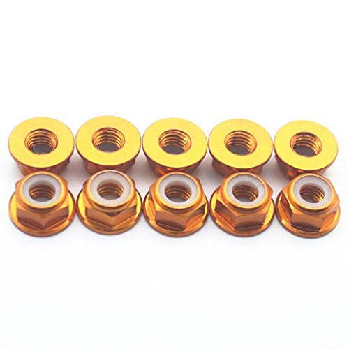 20 Pcs M4 Nuts Flanged Nylon Lock Nut Nylock Self-Lock Aluminum Nuts (Gold)