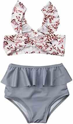 da78512963c86 2Pcs Set Toddler Baby Girl Swimsuit Floral Leopard Ruffle Swimwear Bikini  Tankini Sunsuit