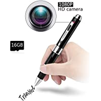 Hidden Camera 1080p Pen Camera - 16GB Transwe Spy Camera Metal Shell Mini Camcorder With Replacable Memory