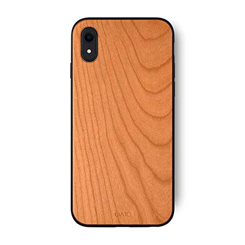 iATO iPhone XR Wooden Case - Real Cherry Wood Grain Premium Protective Back Cover. Unique, Stylish & Classy Snap on Bumper Accessory Designed for 6.1 inch iPhone XR (2018) | Supports Wireless Charging