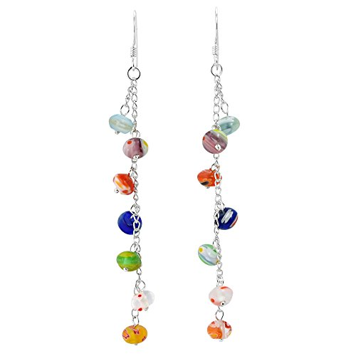 Multicolor Millefiori Glass Bead Drop .925 Sterling Silver Dangle Earrings
