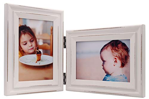 JD-Concept Vertical Horizontal Combo, Double 4x6 White Folding Wood Collage Picture Frames, Multi-Angle Show Portrait and Landscape View