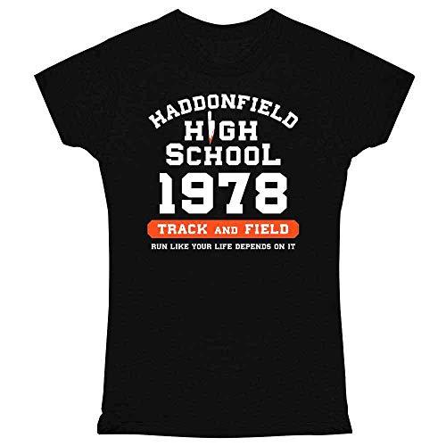 Pop Threads Haddonfield High School 1978 Track Horror Costume Black L Graphic Tee T Shirt for Women