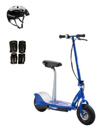 Razor E300S Seated Electric Scooter (Blue) with Helmet, Elbow & Knee Pads (Seat Scooter Electric With Razor)