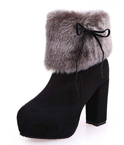 Fashion Dress Heel Side Suede Women's Zips Platform High High Boots Naughtyangel Faux Black Ankle Fur vBgnvw