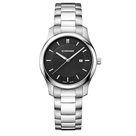 Wenger Men's 'City Classic' Swiss Quartz Stainless Steel Casual Watch, Color:Silver-Toned (Model: (Swiss Mens Classic)