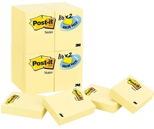 Post-it Notes Value Pack, 1-1/2 x 2-Inches, Canary Yellow, 36-Pads/Pack by Post-it