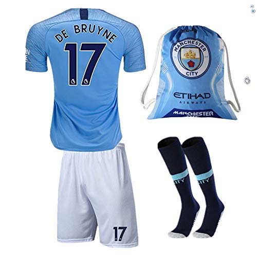 #17 DE BRUYNE Manchester City 18/19 Home Kids/Youth Soccer Jersey & Shorts & Socks and Drawstring Sports Ball Bag Blue (11-12Y/Size 26)