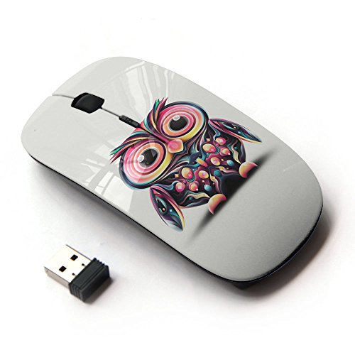 KOOLmouse [ Optical 2.4G Wireless Mouse ] [ Owl Pink Eyes Colorful Disco Bird Drawing ]