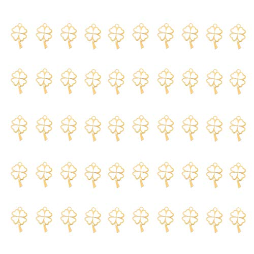 50 Pcs Lucky Four-Leaf Clover Charm Pendant Enamel Sequins Dangle Gold Plated Heart-Shaped Dainty Ornament for Necklace Bracelet Ankle Earring Jewelry DIY Making