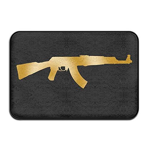 Kui Ju Non-Slip Doormat Entrance Rug Fade Resistant Floor Mats AK-47 Gun Pattern Shoes Scraper 23.6x15.7x0.39Inch
