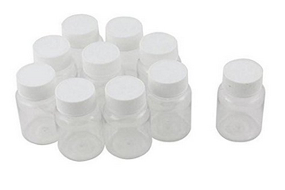 10PCS Clear Plastic Empty Portable Solid Powder Medicine Chemical Bottles Pill Tablet Storage Container Holder Case Box (100ML)