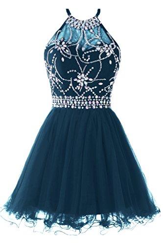 Teal Juniors Dress - Musever Women's Halter Short Homecoming Dress Beading Tulle Prom Dress Teal US 2