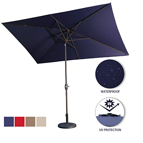 Aok Garden Outdoor Market Umbrella,10x6.5 Feet Square Patio Umbrella with Push Button Tilt and Crank Lift Ventilation,8 Sturdy Ribs Non-Fading Sunshade,Navy Blue
