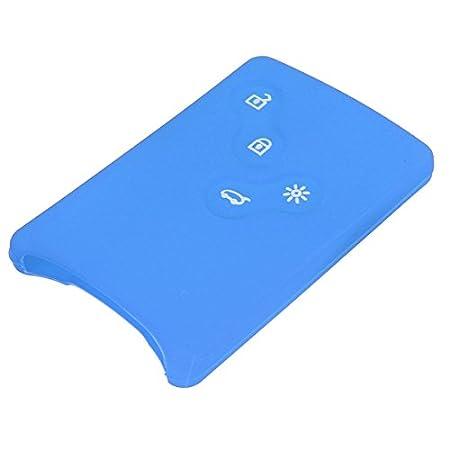 GOZAR Car 4 Botton Silicone Remote Key Shell Case Cover for RENAULT Laguna Koleos Capture - Blue