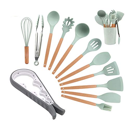 Silicone Cooking Kitchen Utensils Set, XUNATA Bamboo Wooden Handles Cooking Tool BPA Free Non Toxic Silicone Turner Tongs Spatula Spoon Kitchen Gadgets Utensil Set for Nonstick Cookware, 13pcs