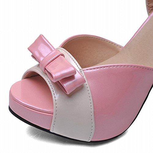 Carol Shoes Buckle Womens Sweet Candy Color Simpatici Archi Assortiti Colori Lolita Platform Alti Sandali Con Tacco Grosso Rosa