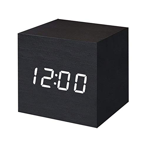 Digital Alarm Clock Wooden LED Light Multifunctional Modern Cube Displays Date Temperature for Home Office Travel-Black (Home Clock)