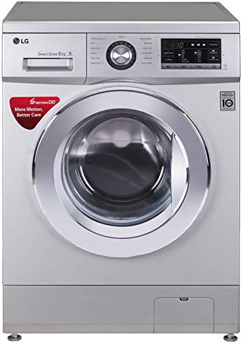 LG 8.0 kg Inverter Fully-Automatic Front Loading Washing Machine (FH2G6TDNL42, Silver, Inbuilt...